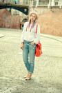 Blue-boyfriend-h-m-jeans-red-shoulder-bag-zara-bag-nude-asos-sandals