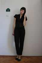 black thrifted shirt - black Stradivarius pants - black random shirt