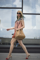 tan Mango bag - peach Stella McCartney dress - black Steve Madden sunglasses