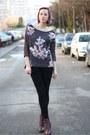 Magenta-h-m-boots-puce-floral-stradivarius-sweater-black-skull-zara-leggings