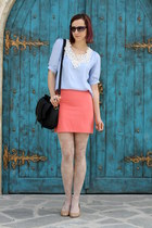 blue lace nowIStyle shirt - nude bb up shoes - nude lace H&M tights