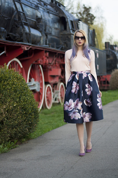 navy floral print Sheinside skirt - neutral Atmosphere sweater