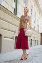 ruby red H&M skirt - bronze leather Stradivarius top - red Mango sandals
