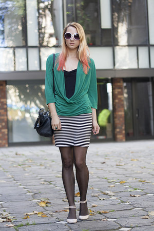 teal H&M shirt - black stripes H&M skirt - neutral asos flats