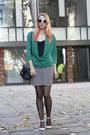 Teal-h-m-shirt-black-stripes-h-m-skirt-neutral-asos-flats