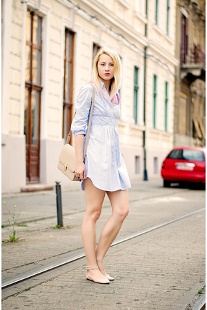 blue shirt dress H&M dress - nude nowIStyle bag - nude asos flats