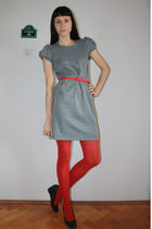 gray Dunnes dress - red random tights - red thrifted belt - gray DGM shoes