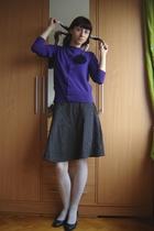 purple blouse - black H&M skirt - white Calzedonia tights - black DGM shoes - sc