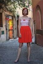 tube stripe Zara stockings - pleated H&M skirt - leather studded Zara sandals