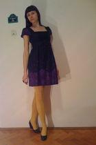 purple H&M dress - yellow Fiore tights - black DGM dress