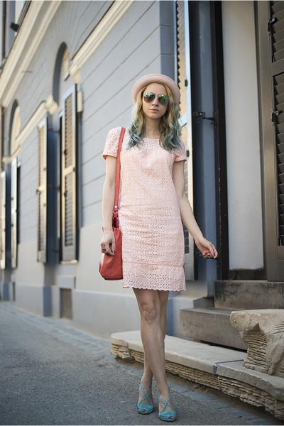 light pink c&a dress - light pink H&M hat - red Zara bag