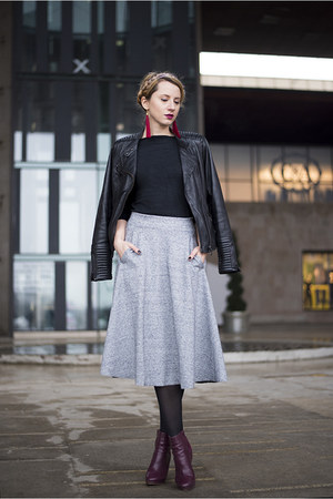 heather gray midi H&M skirt - magenta H&M boots - black leather pull&bear jacket