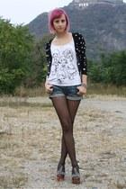 black Jeffrey Campbell sandals - navy H&M shorts - black thrifted H&M cardigan