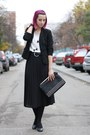 Black-pimkie-blazer-white-bird-print-h-m-shirt