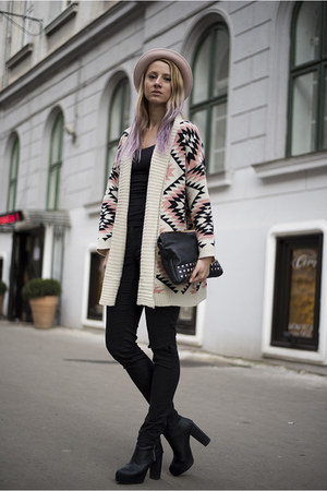 light pink geometric print Sheinside cardigan - black H&M boots