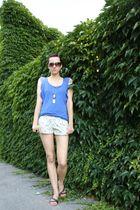 blue Bershka top - Kathy shorts - black random shoes