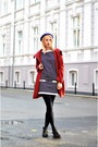Black-zara-dress-ruby-red-h-m-coat-deep-purple-h-m-hat