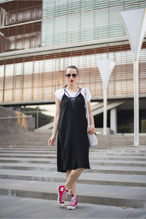 white reserved t-shirt - black H&M dress - red Converse sneakers