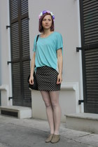 olive green H&M shoes - turquoise blue nowIStyle shirt