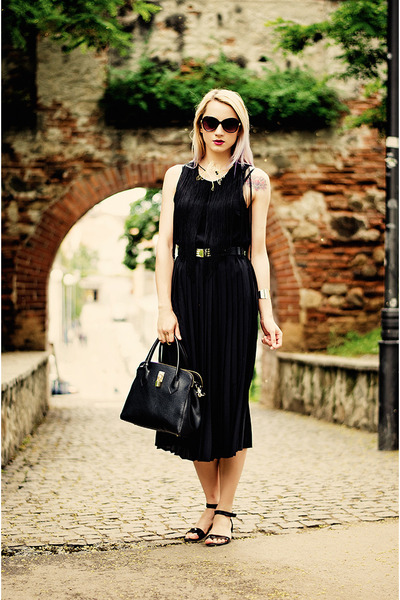 black nowIStyle bag - black H&M sunglasses - black fringe H&M top