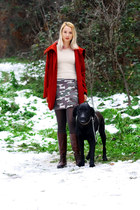 dark brown Alto Gradimento boots - ruby red winter H&M coat