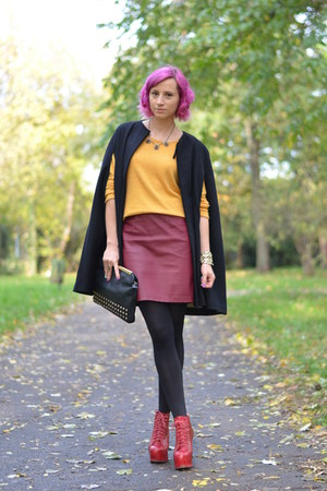 maroon H&M skirt - red Jeffrey Campbell boots - yellow H&M sweater