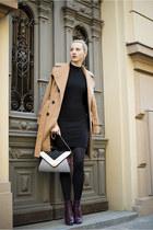 black new look dress - magenta H&M boots - camel Topshop coat