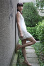 White-bershka-dress-beige-bb-up-shoes-beige-from-my-mom-bracelet-beige-thr