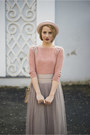 Light-pink-h-m-hat-peach-embellished-thrifted-sweater