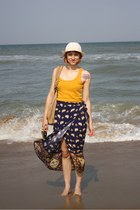 navy thrifted skirt - cream meli melo hat - mustard Stradivarius top