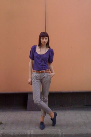 purple Colors of the World shirt - gray Stradivarius pants - brown thrifted belt