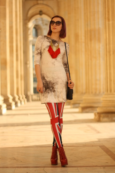 red union jack random leggings - ruby red Jeffrey Campbell boots