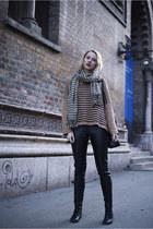 light brown stripes H&M sweater - black faux leather H&M pants
