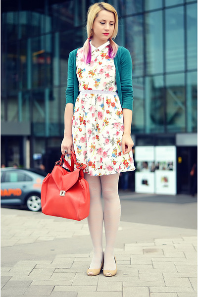 white floral PERSUNMALL dress - off white lace h&n tights - red Zara bag