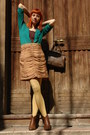 Brown-amanda-boots-teal-h-m-shirt-light-yellow-fiore-tights-dark-brown-old