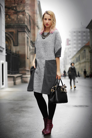 black nowIStyle dress - heather gray nowIStyle dress - magenta H&M boots