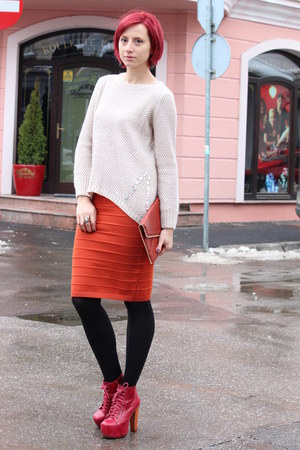 carrot orange skirt - ruby red Jeffrey Campbell boots - off white sweater