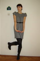 gray Dunnes dress - black tights - black afrodita boots - black belt