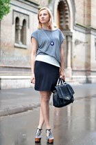 heather gray nowIStyle dress - black nowIStyle bag