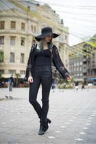 black H&M hat - black lace kimono Sheinside blazer