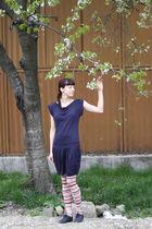 purple Bershka dress - white charme tights - blue red lips shoes