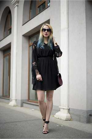 black Mango dress - black kimono Sheinside blazer - heather gray new look bag