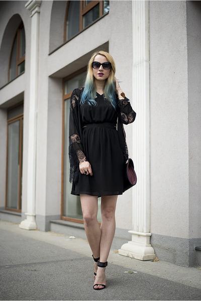 black Mango dress - black kimono Sheinside blazer - heather gray new look bag