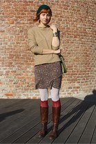 brick red Topshop socks - light brown extrose dress - beige thrifted sweater