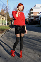 black Only skirt - ruby red Jeffrey Campbell boots - red thrifted sweater