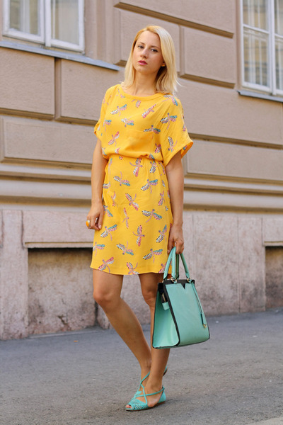 light yellow Zara dress - aquamarine nowIStyle bag - aquamarine Zara sandals