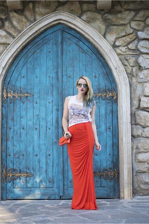 orange maxi Mango skirt - turquoise blue H&M sunglasses - white Zara t-shirt