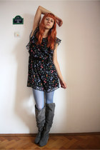 black Topshop dress - blue Fiore tights - charcoal gray random boots