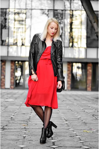 red vintage dress - black H&M boots - black leather Pull & Bear jacket
