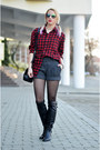 Black-filty-boots-red-uniqlo-shirt-black-nowistyle-bag
